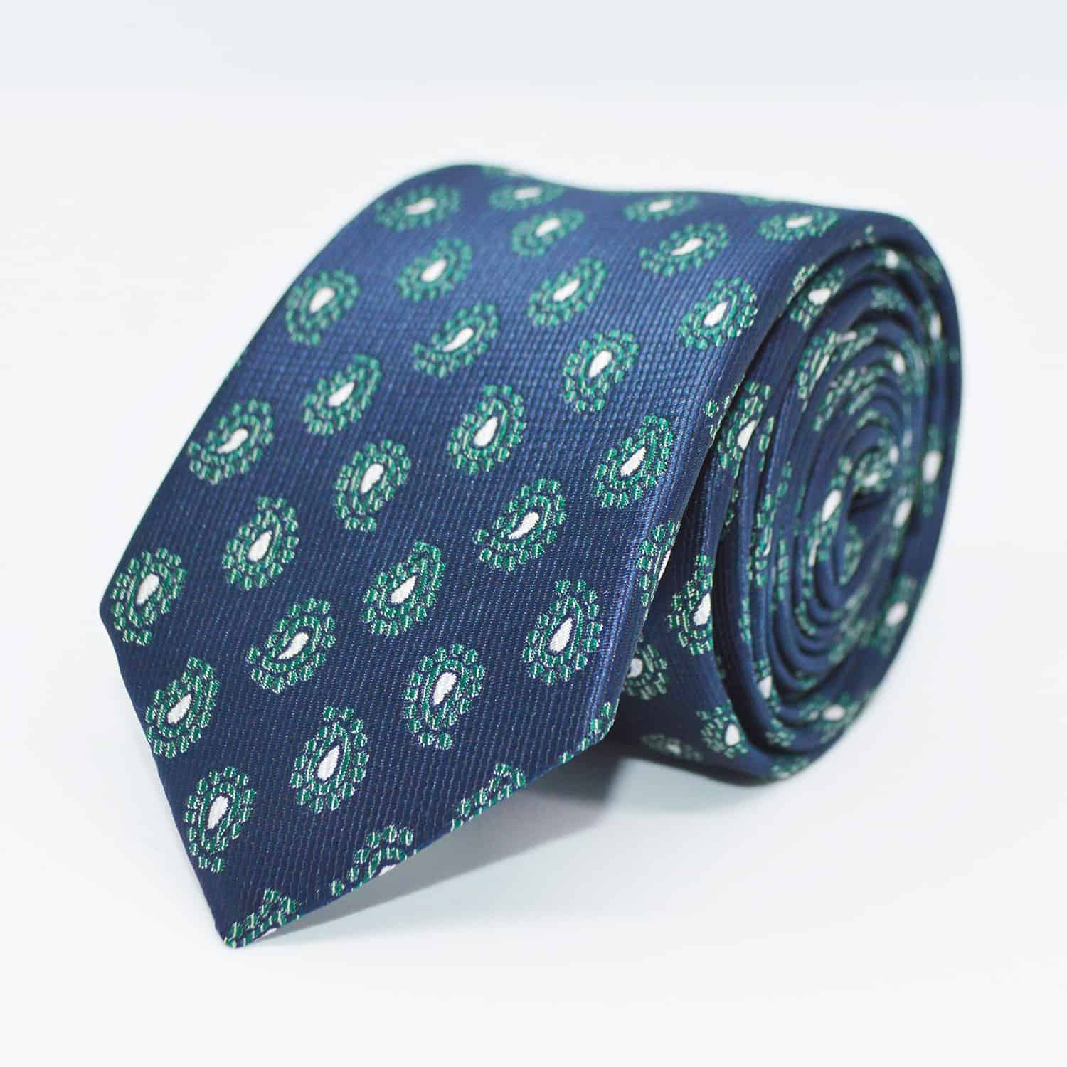 Tie blue/green paisley front